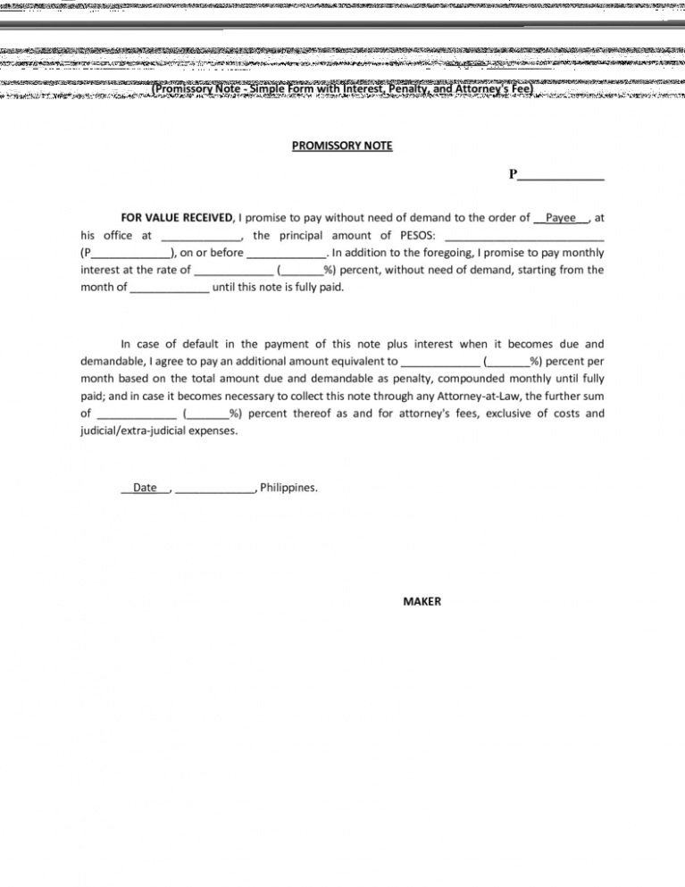 11 Sample Format Promissory Note Philippines Promissory Note Sample Notes