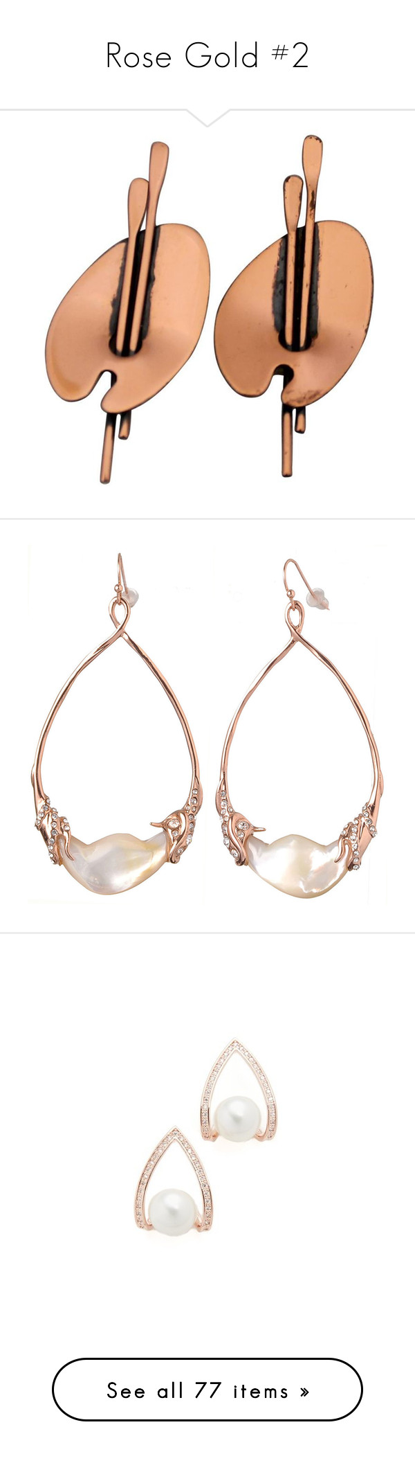 """""""Rose Gold #2"""" by kikikoji ❤ liked on Polyvore featuring jewelry, earrings, beige, pre owned jewelry, vintage copper earrings, vintage clip on earrings, copper jewelry, clip back earrings, white and mother of pearl jewelry"""