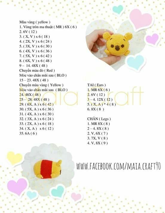 Tsum Tsum winnie | crochet | Pinterest | Patrones amigurumi ...