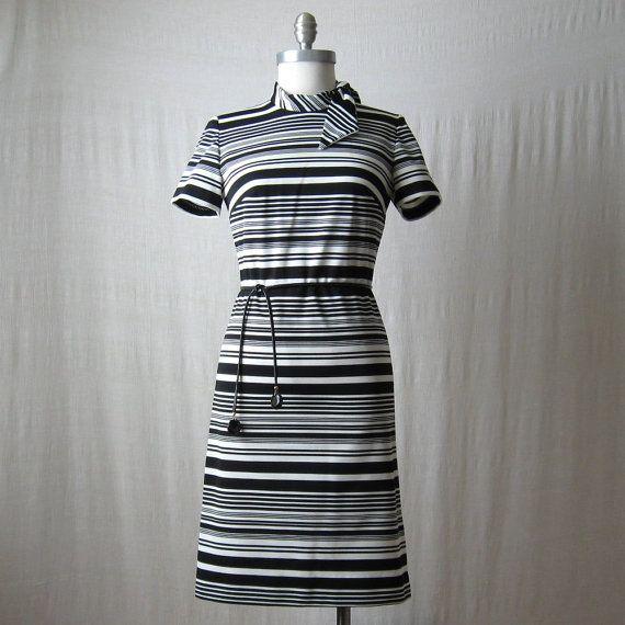 Neck Tie Dress / Mod Striped Dress