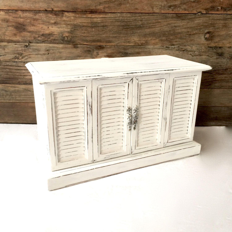 Large White Coastal Jewelry Box Distressed Shabby Chic Nautical