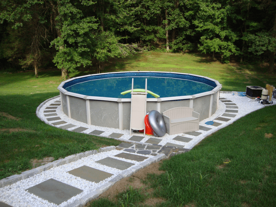 Backyard landscaping ideas with above ground pool http for On ground pools
