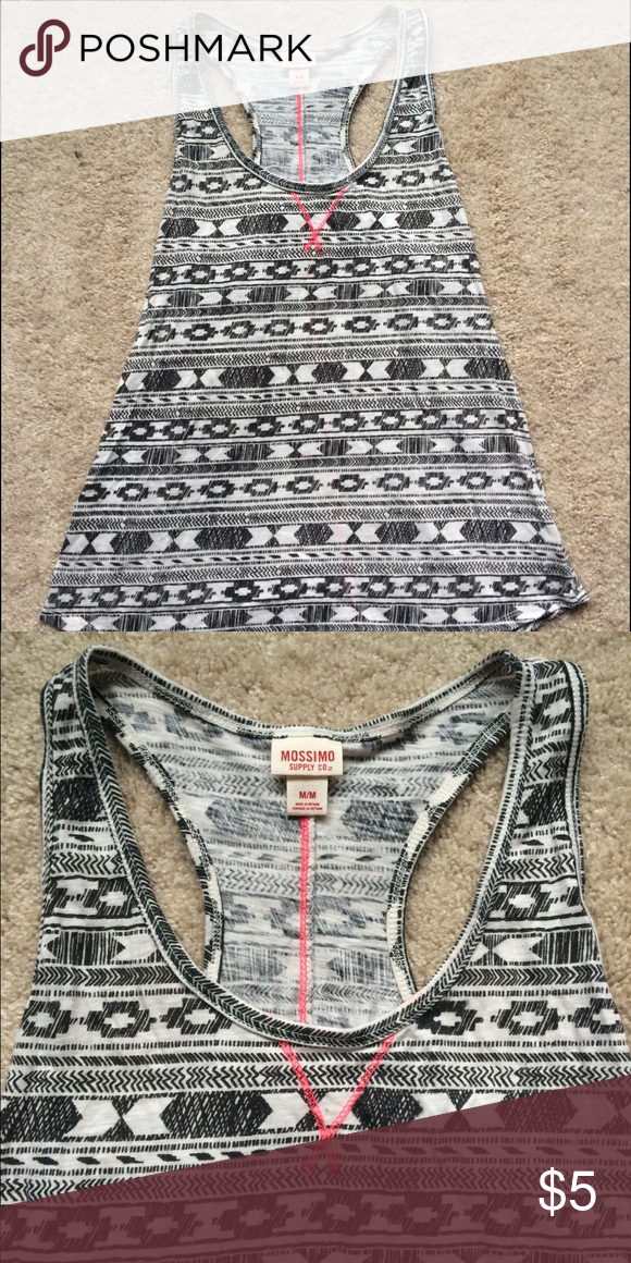 Black white and pink race back tank top Worn only twice. No flaws! Mossimo Supply Co. Tops Tank Tops