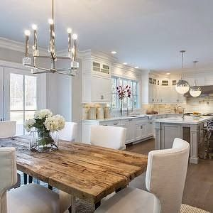 Layout. L-shaped kitchen with island and eat-in table at back ...