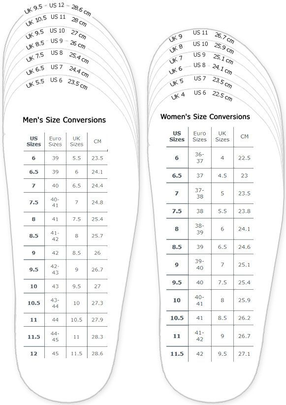 Shoes Measurement Chart For Printable Adult (Men And Woman) Shoes