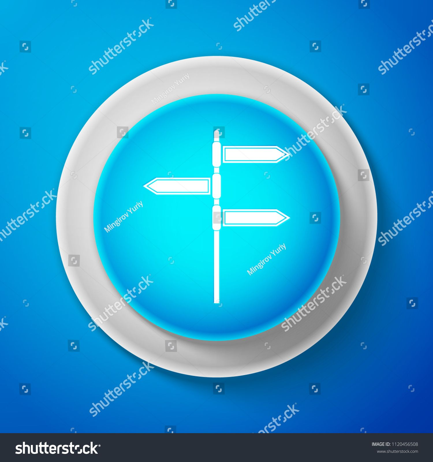 White Road traffic sign. Signpost icon isolated on blue