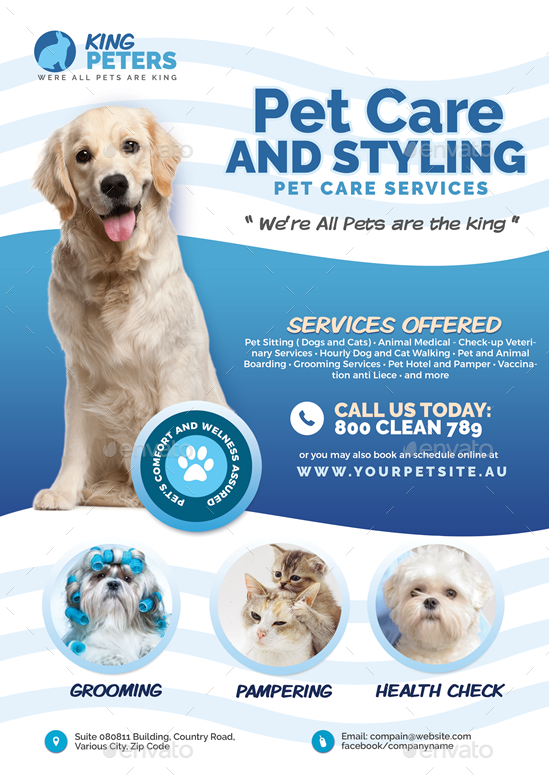 Pet Grooming And Care Service Flyer Pet Grooming Pets Grooming