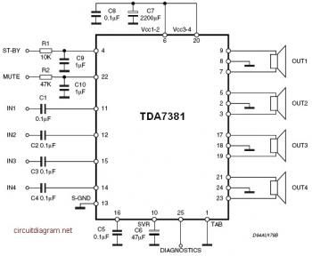 a6bdf5db21e6b23dd0b634c8ed0fdcfb tda7831 4x25w quad audio amplifier schematic diagram ceet amplifier schematic diagram at panicattacktreatment.co