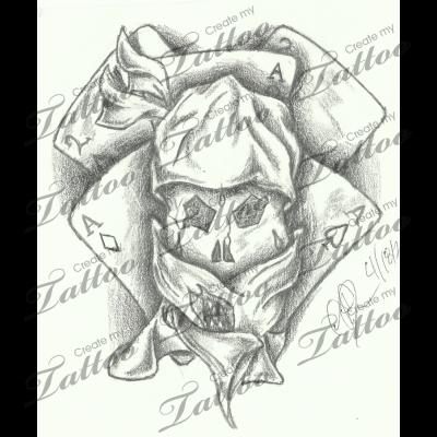 Marketplace Tattoo poker skull #12940   CreateMyTattoo.com
