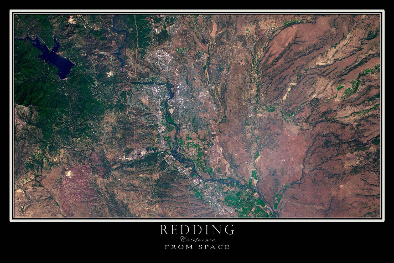 Redding California Satellite Poster Map earth