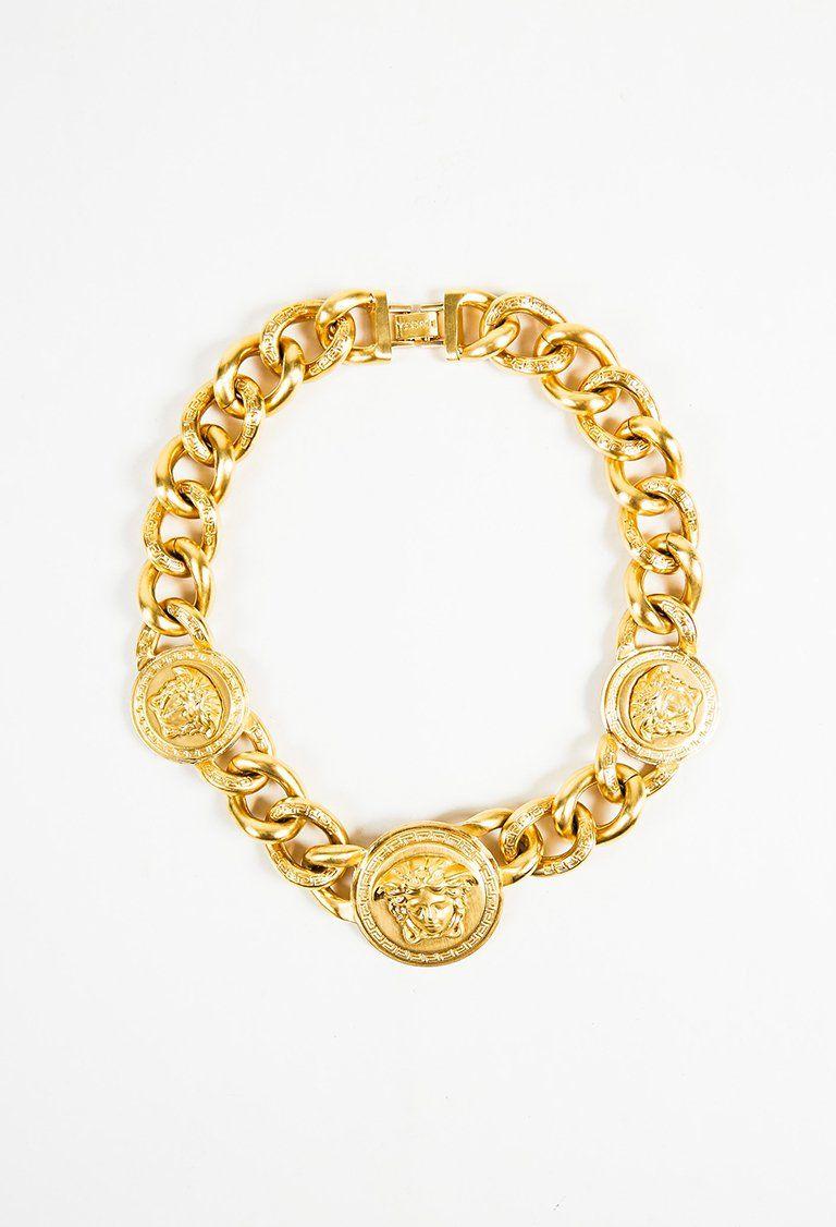 Versace 2012 Brushed Gold Tone Medusa Coin Greek Key Chain Link