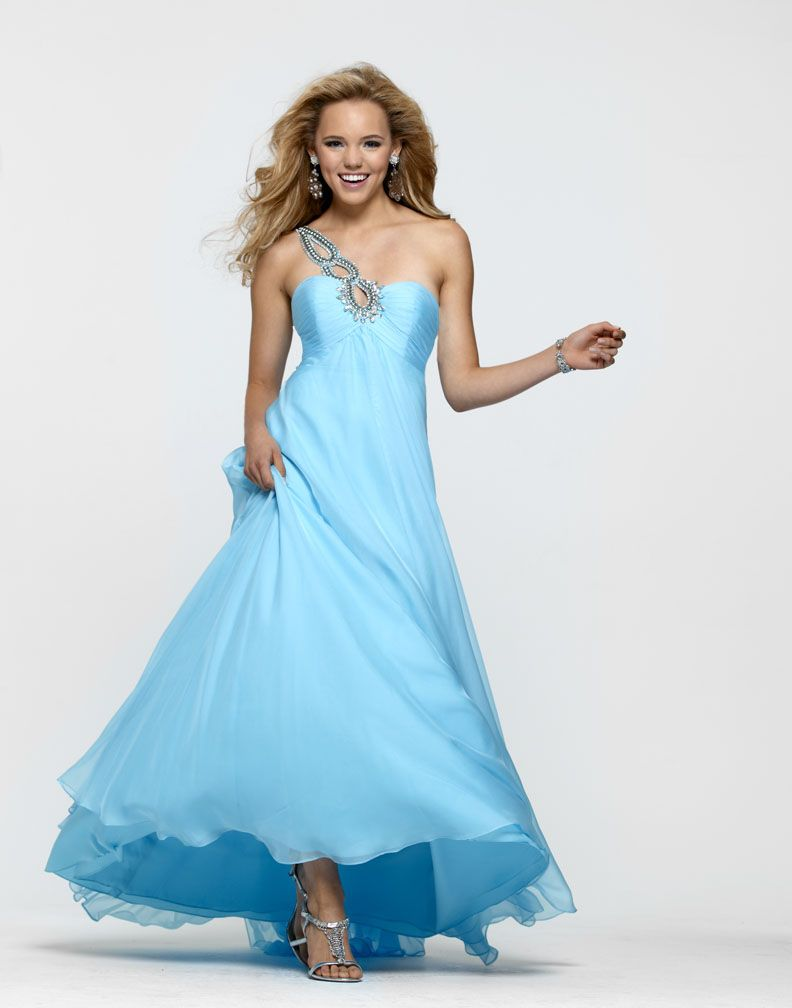 One shoulder chiffon prom gown long prom gowns prom and gowns