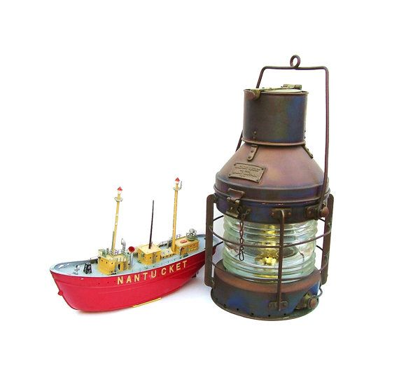 Vintage Anchor Ships Lantern Nautical Copper By Oceansidecastle 347 99 Nautical Lanterns Oil Lamps Copper Lantern