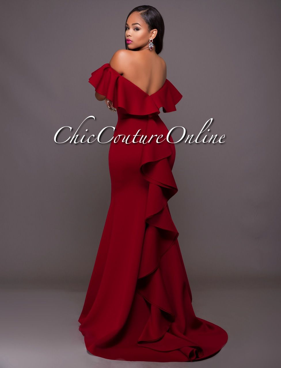 Chic Couture Online - Carlton Burgundy Off-The-Shoulder Ruffle Ponti Gown.(http://www.chiccoutureonline.com/carlton-burgundy-off-the-shoulder-ruffle-ponti-gown/)