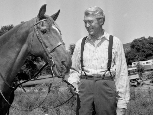 "File: Jimmy Stewart has been with Pie, his movie horse since he started his comeback in 1950 with a western, ""Winchester 73."" (Photo: ASSOCIATED PRESS)"