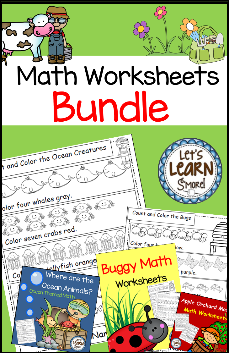 Math Worksheets, Ocean, Farm, Garden, Apples and Bugs Math Bundle ...