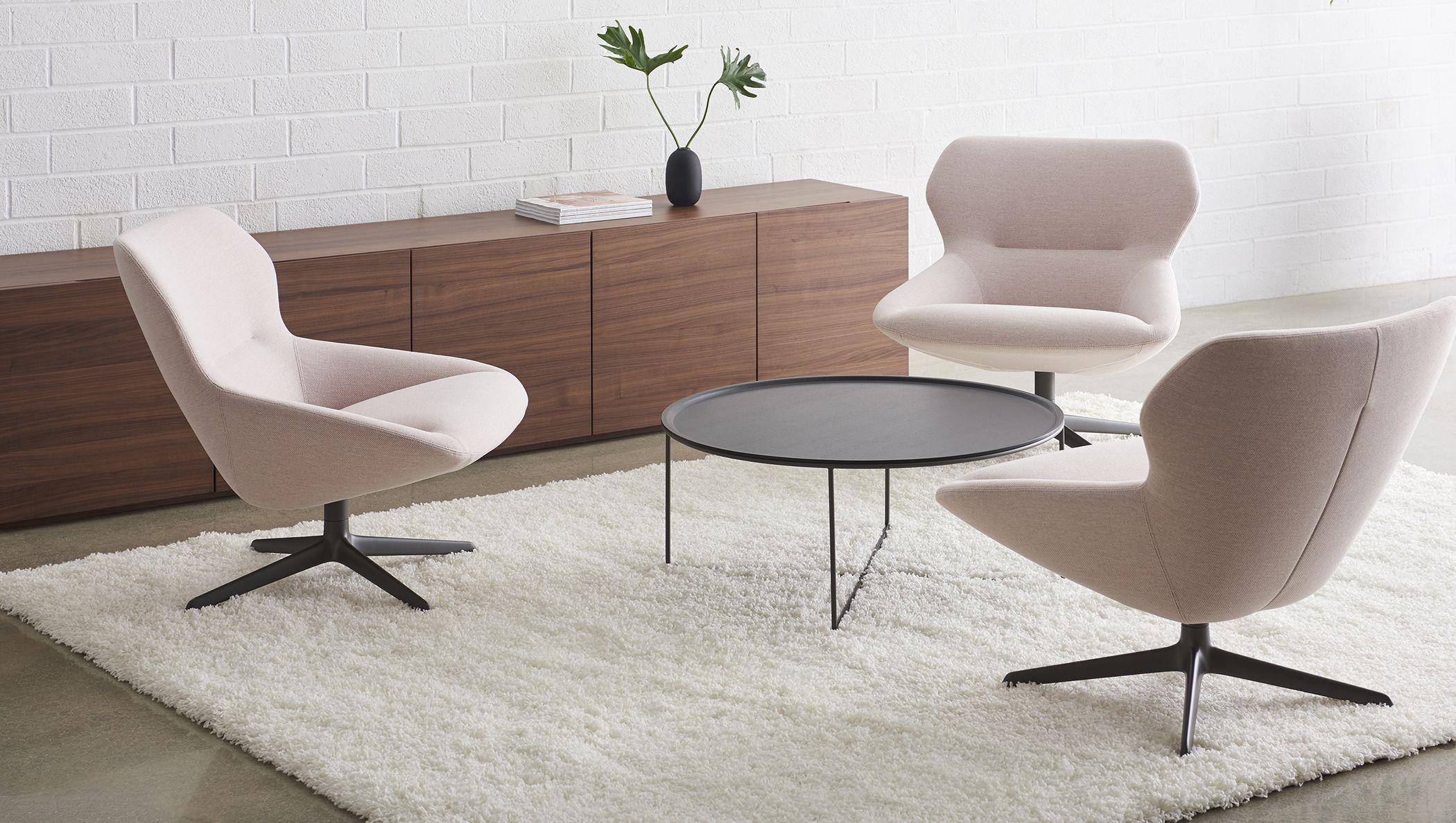 Ginkgo Lounge Mid Back Chairs Shown With Valet Table And