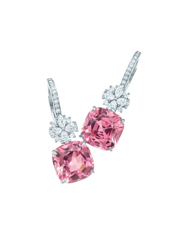 Tiffany & Co. Pink Spinel Diamond Drop Earrings