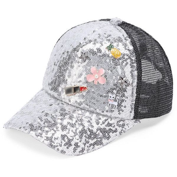 ed011d13058fa0 Flower And Cat Detail Sequin Baseball Cap (1,215 INR) ❤ liked on Polyvore  featuring accessories, hats, ball cap, flower baseball cap, cat baseball cap,  ...