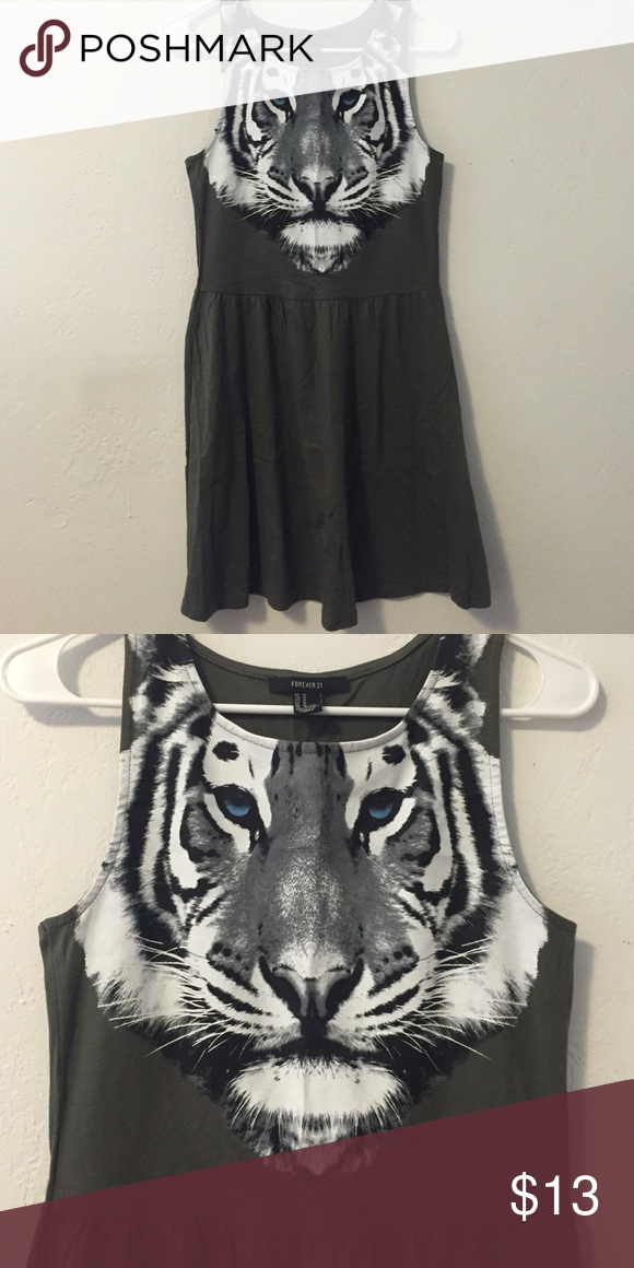 Green tiger dress Olive green, knee length, has a white tiger one it Forever 21 Dresses