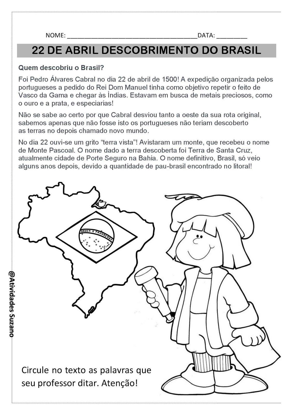 22 De Abril Descobrimento Do Brasil Atividades Pedagogica Suzano