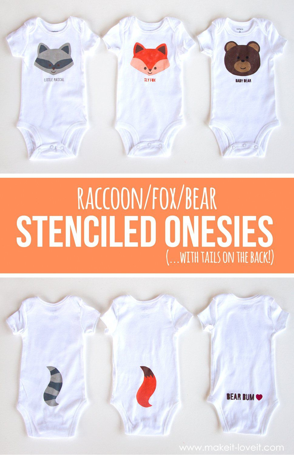 a2c6a0bd5557 Fox Bear Raccoon DIY Stenciled Onesies (…with tails on the back ...