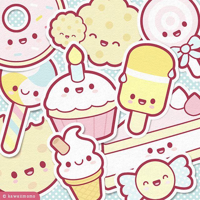 Cute Sweets Collage Kawaii Drawings Kawaii Wallpaper Kawaii Sweets Chibi anime food wallpaper