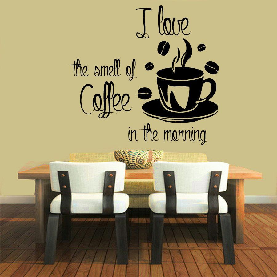 Smell of Coffee in the Morning\' Sticker Vinyl Wall Art | Coffee Love ...