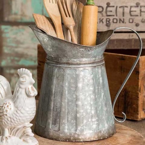 New Primitive Farmhouse Rustic FARMERS MARKET Green Vase Milk Can Utensil Bucket