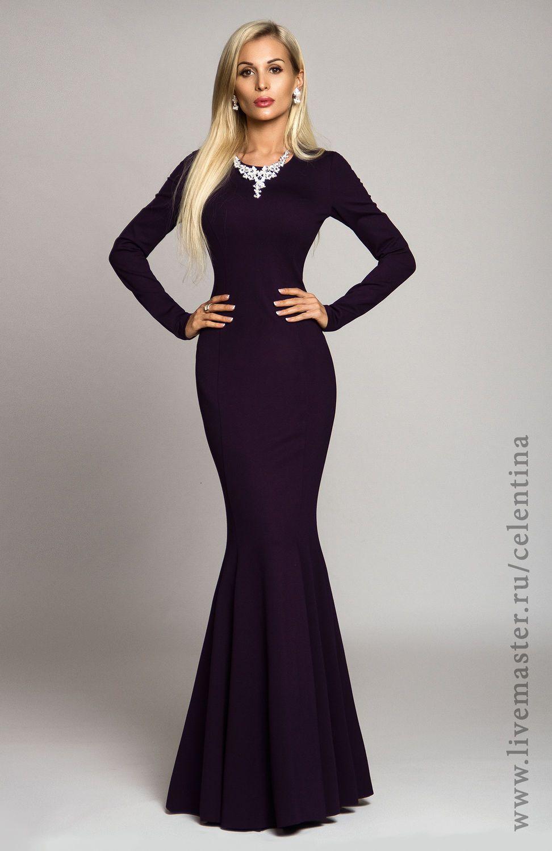 04c1d5783ad35ba Купить Длинное платье, фиолетовое платье, вечернее платье в пол,  трикотажное - темно-фиолетовый