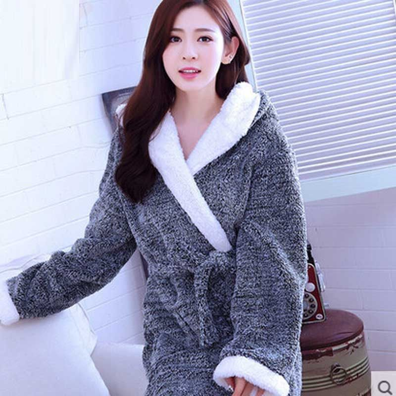 e8987ae8b8 Autumn Winter Thickening Warm Flannel Bathrobe Men Dressing Gown Coral  Fleece Bath Robe Male Sleepwear Nightgown Kimono Homme