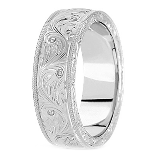 14K White Gold 7 mm Mens Antique Wedding Ring 1 His Ring