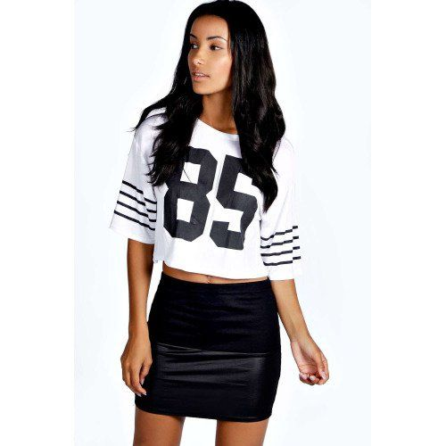 boohoo Taylor Wet Look Contrast Band Mini Skirt - black