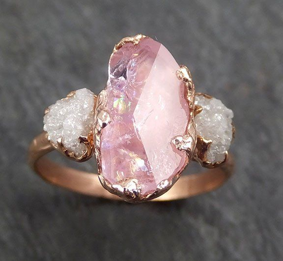 Raw Rough Diamonds Partially Faceted Pink Topaz 14k rose Gold Ring