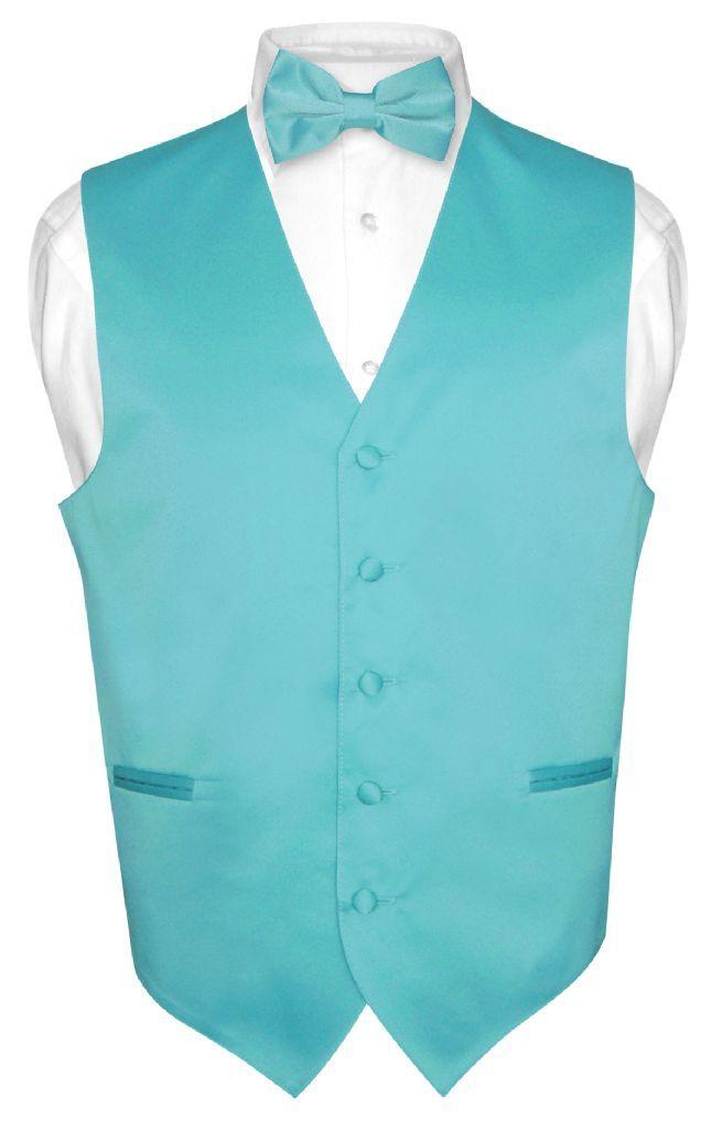 23f43ad4319 Men's Dress Vest & BowTie Solid TURQUOISE AQUA BLUE Color Bow Tie Set