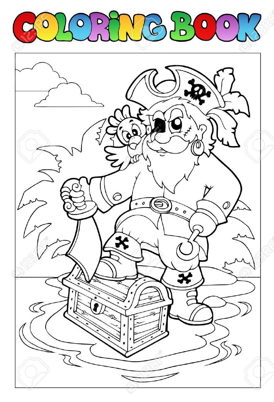 Libro Para Colorear. Pirata con un pie sobre el cofre del tesoro y ...