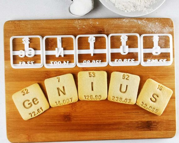 Genius and nerdy cookie cutters periodic table elements inspired genius and nerdy cookie cutters periodic table elements inspired germanium nitrogen iodine uranium sulfur with atomic number weight urtaz Images