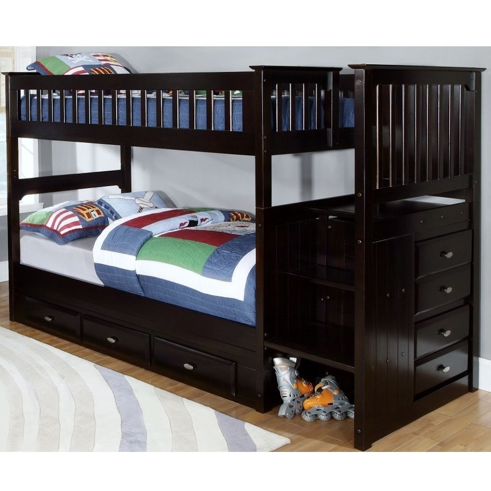 American Espresso Brown Staircase Bunk Bed With Seven 7 Drawers
