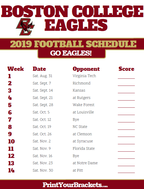 graphic relating to Printable College Football Schedules named Printable 2019 Boston University Eagles Soccer Timetable
