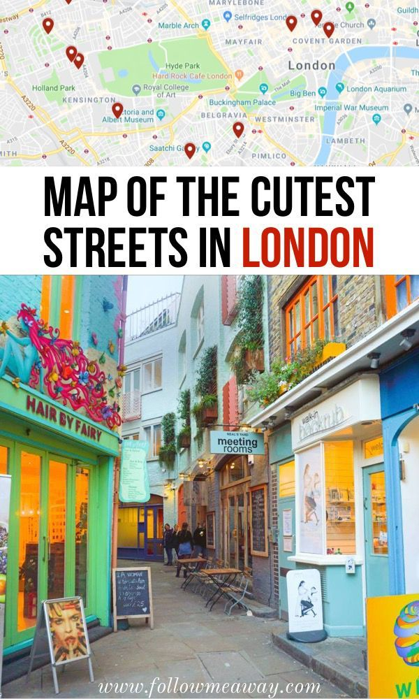 Map Of The Cutest Streets In London | London streets for Instagram | best Instagram locations in London | best things to do in London | London travel tips | streets in London you must see #London #londontravel #streetstyle
