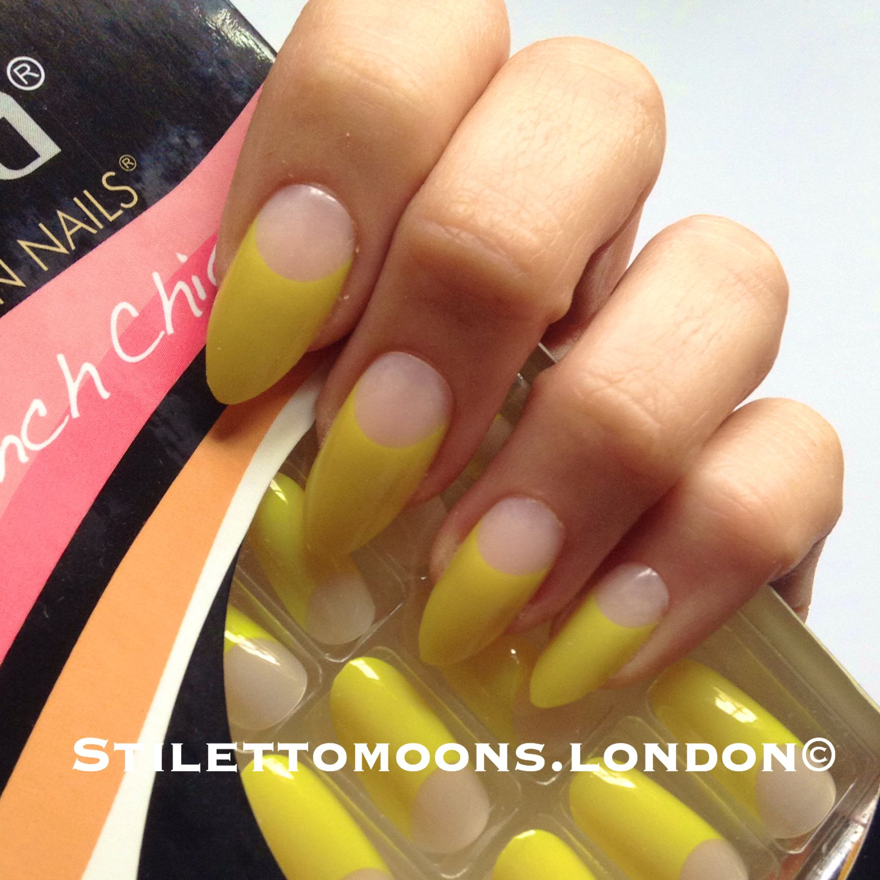 Happy yellow french manicure false nails. Stiletto almond oval ...