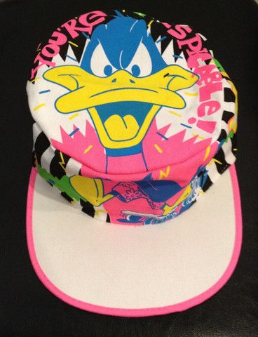 a81b9c13355 Vintage 80 s Deadstock DAFFY DUCK Neon Painters Hat  vintage  neon  80s   90s  freshprince