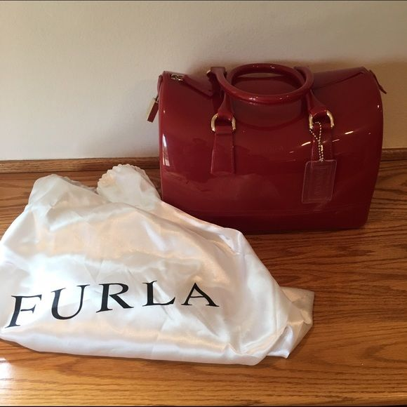 Furla Candy Bag Add this pop of color candy bag to any outfit for summer! Never worn. Received as a gift. Duster bag included. Furla Bags Satchels