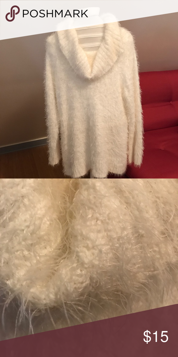 Plus Size Cowl Super Fuzzy White Sweater | White sweaters ...