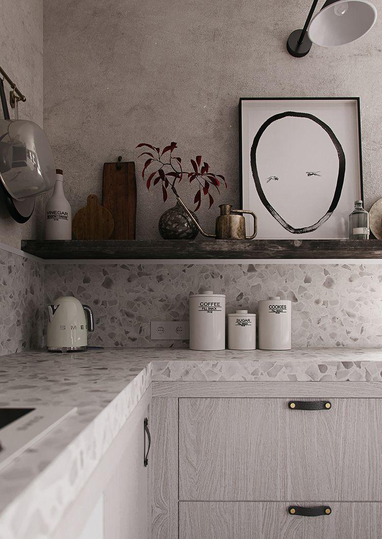 Contemporary Gray Kitchen With Terrazzo Countertop My Paradissi