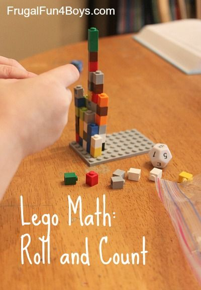 Math with Legos:  Preschool Roll and Count