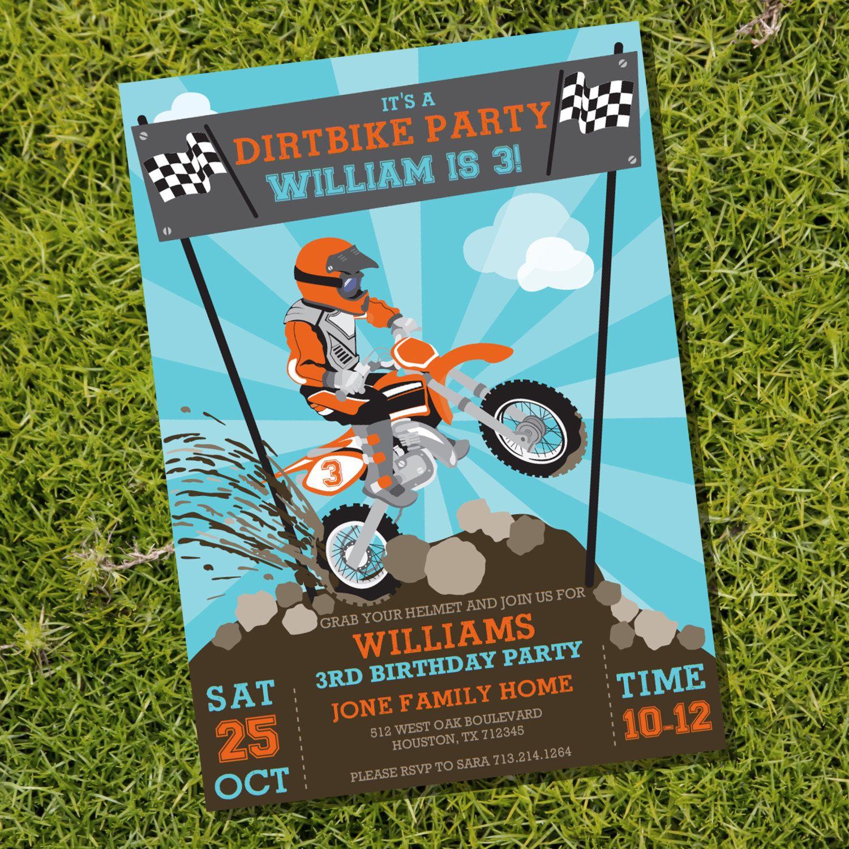 Dirt Bike Party Invitation Motorbike Party Motocross