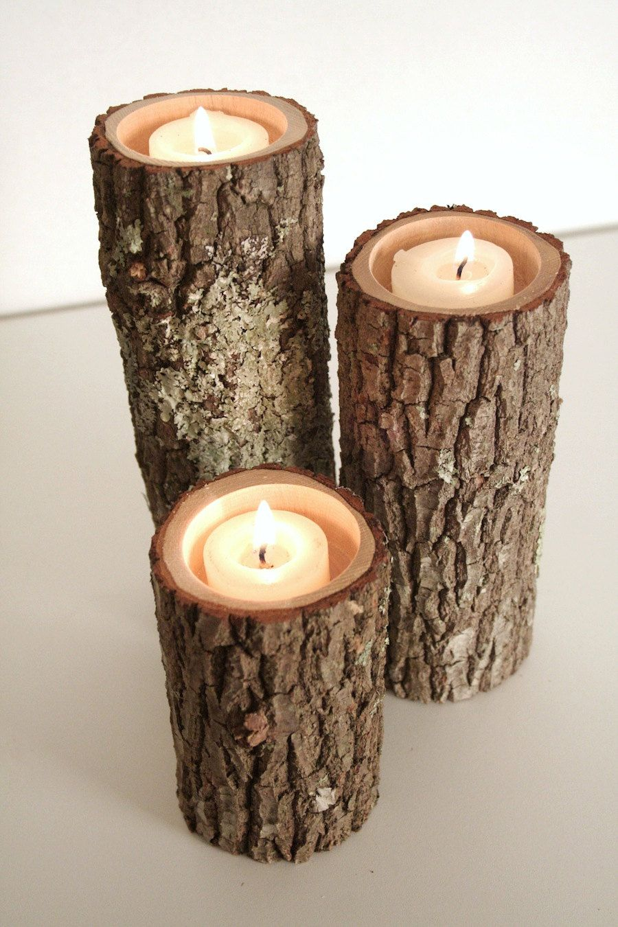 Tree Branch Candle Holders I Rustic Wood Bark Wooden