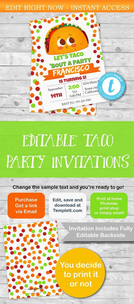 taco invitation template editable taco party invitation taco