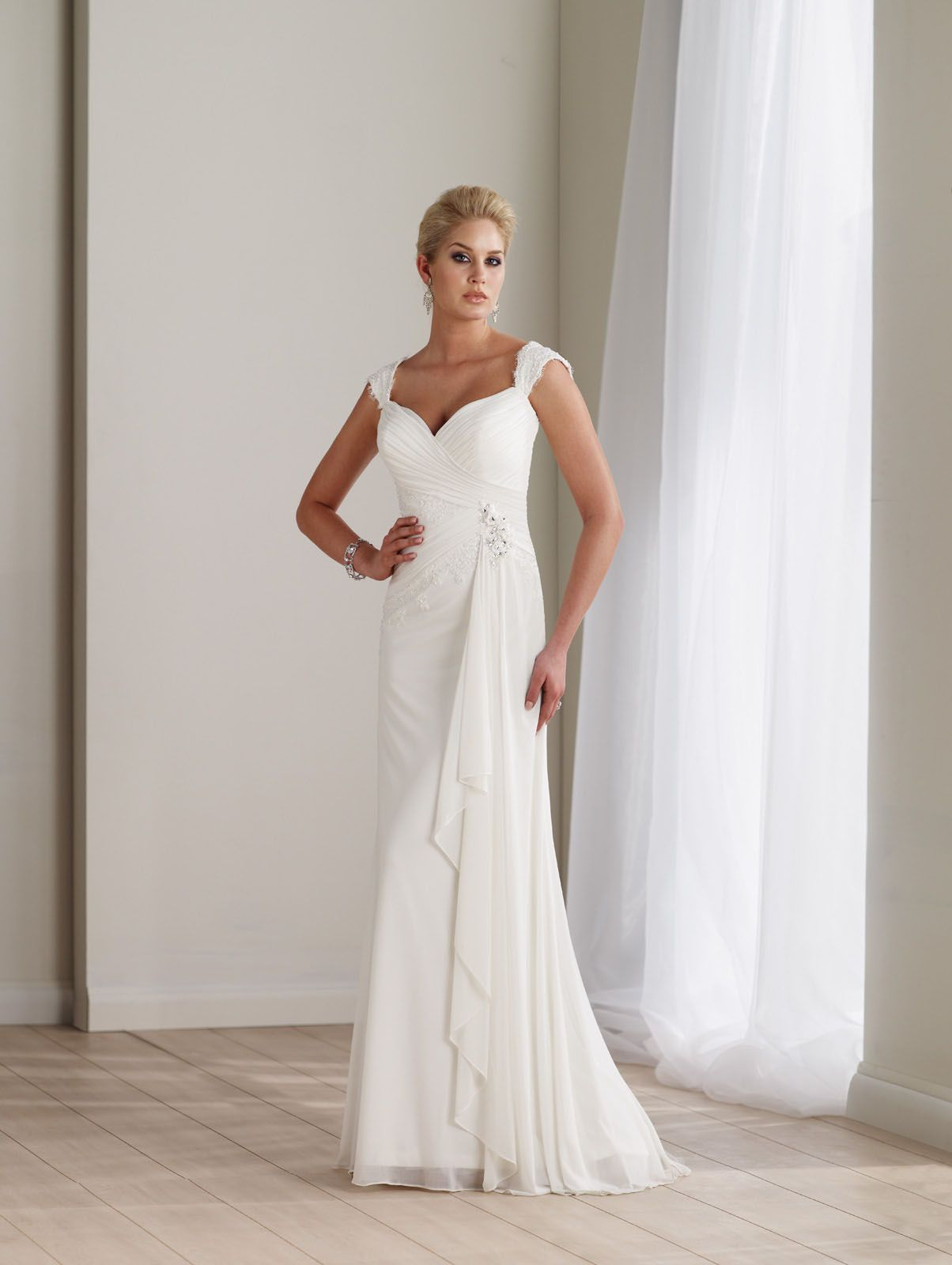 Sleeveless slim a line ivory chiffon bridal gown with tapered soft sleeveless stretch illusion slim a line bridal gown with tapered soft lace straps ombrellifo Gallery